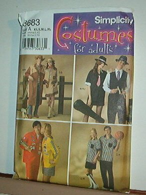 """Sewing Pattern Simplicity 3683 Costumes Cowboy Referee Gangster easy 30-48"""" chest"""