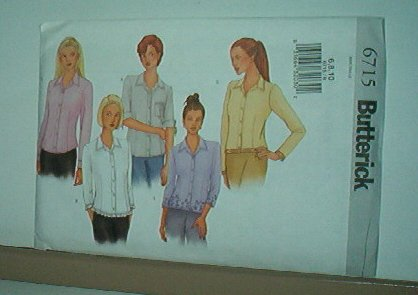 Sewing Pattern  Butterick 6715 Size 6-10 Shirt with variations