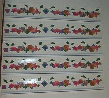 Scrapbooking - Stickers - 5 each - Stripes and pretty flowers