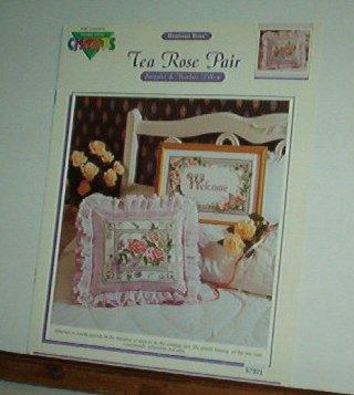 Cross Stitch Pattern,TEA ROSE PAIR  Sampler and pillow