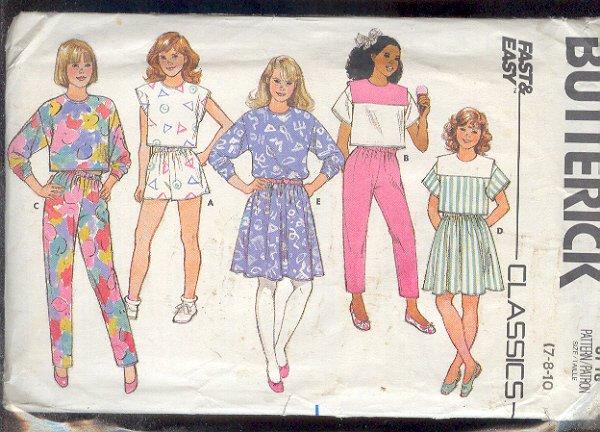Sewing Pattern Butterick 3718 Girls Sports Gear Sizes 7 8 & 10 Easy