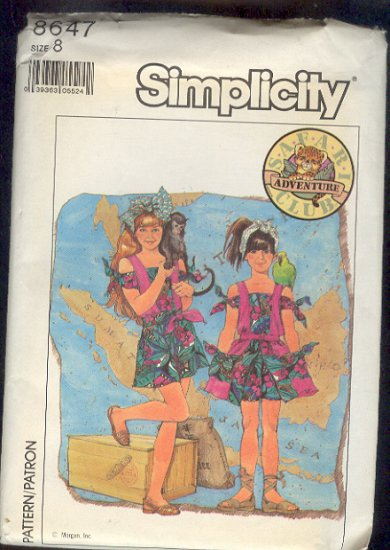Simplicity Sewing  Pattern 8647 Safari Adventure Clup Girl's Romper & Skirt Size 8