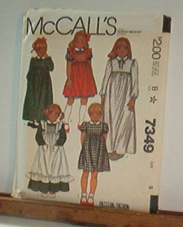Sewing Pattern McCall's 7349 Girls Old Fashioned dresses & pinafore Size 8