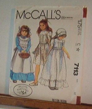Sewing Pattern McCall's 7113 Girls dress apron & bonnet Very Sweet Size 10