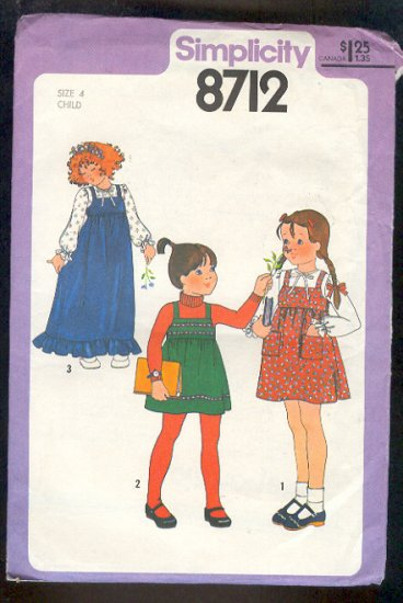 Simplicity Sewing  Pattern 8712 Girls pullover jumper & blouse Size 4