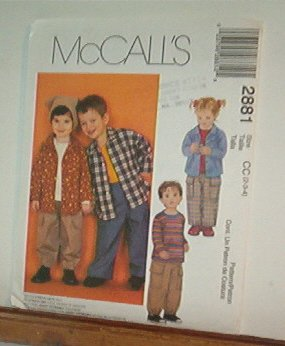 Sewing Pattern McCall's 2881 Boys & Girls shirt, top & pull on pants Size 1 2 3