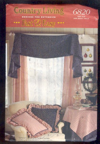 Sewing Pattern Butterick 6820 Window treatment pillows tablecloth