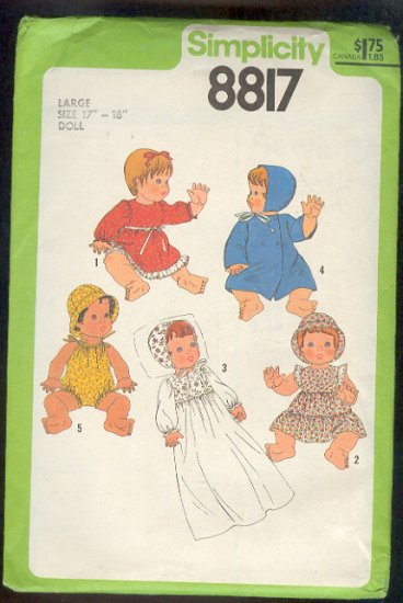 "Sewing Pattern, Simplicity 8817 Baby Doll Clothes Size 17"" - 18"" Sweet"