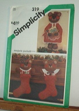 Sewing Pattern Simplicity 319 Bear Wall hanging and stockings Cute