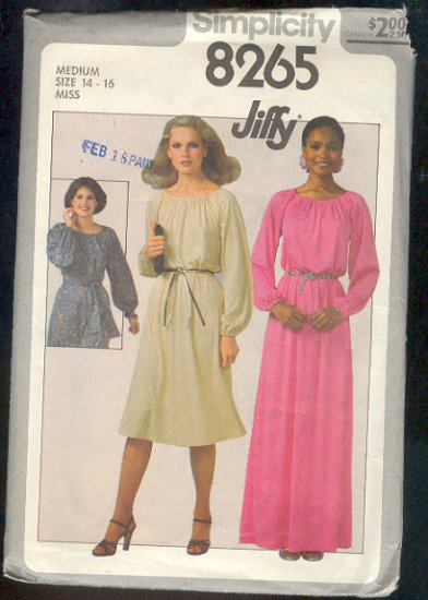 Sewing Pattern  Simplicity 8265 Simple pullover dress 2 lengths size 14-16