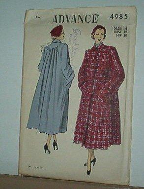 Sewing Pattern Advance Vintage 4985 Winter Coat Size 14