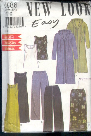 Sewing Pattern New Look 6886 Mix and Match Separates  Sizes 6 - 16