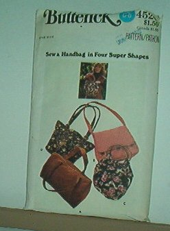 "Sewing Pattern Butterick 4520 Four styles of handbag about 14"" across"