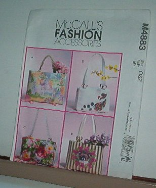 McCall's Sewing Pattern M4883  Four Decorated Totes 3 sizes, Neat