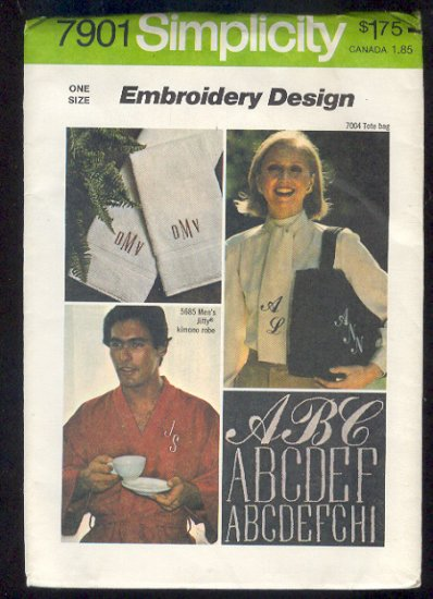 Embroidery Pattern Simpicity 7901 Monograms for embroidery New