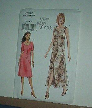 Vogue Sewing Pattern V7872 Scoop neck dress Summer Size 14 - 18