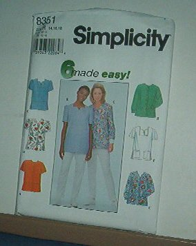 Sewing Pattern Simplicity 8351 Tops - 6 variations, good for scrubs Size 14-18
