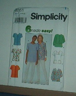 Sewing Pattern Simplicity 8351 Tops - 6 variations, good for scrubs Size 20-24