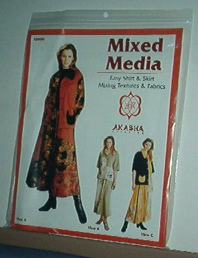 "Sewing Pattern Akaska AB0006 Mixed Media skirt and shirt  Sizes 30-48"" bust"