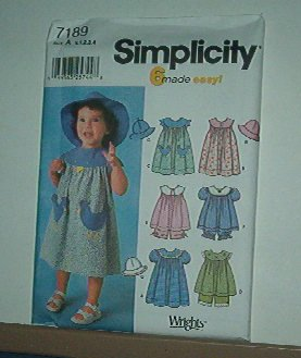 Sewing Pattern Simplicity Child 7189 Dress, panteloons and hats, size 6 mos to 4 yrs.