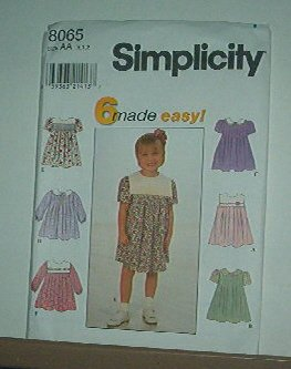 Sewing Pattern Simplicity Child 8054 Dress in six variations, cute sizes 6 mos to 2 years