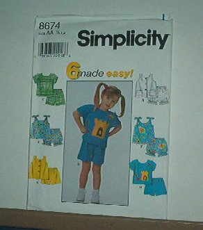 Sewing Pattern Simplicity Child 8674 top, shorts with six variations size 6 mos to 2 years