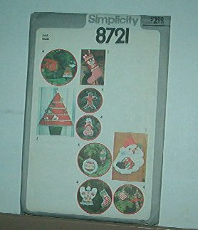 Sewing Pattern Christmas stocking card holder, hanging & ornaments 8721 Simplicity