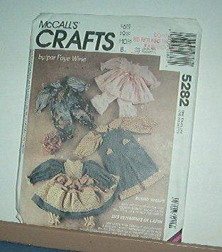 """Sewing Pattern McCall's 5282 Faye Wine Bunny Rabbit Wardrobe 25"""" 20"""" 14"""""""