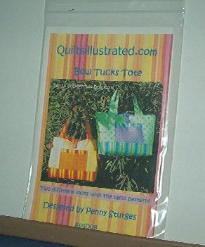 "Sewing Pattern Bow Tucks Tote by Penny Sturgess, Shoulder strap 18 X 12 X 5"" PS008"