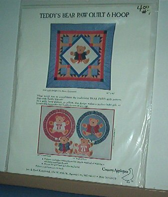 """Sewing Pattern Country Appliques Teddy Bear  Paw Quilt (46 X 46"""") & Hoop"""