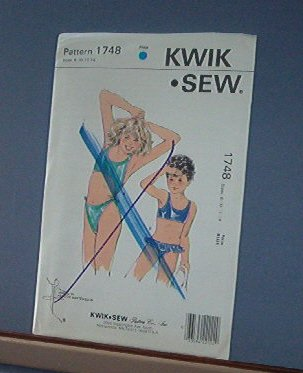 Kwik Sew Sewing Pattern Girl's Two Piece Swim Suits Sizes 8 - 14 Cute