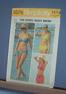 Sewing Pattern Simplicity 5576 Two Piece Swim Suits Sizes 8 & 10 Basic & Easy