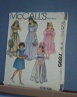Sewing Pattern McCall's 7895 Fancy Girls' Dress Wedding Parties Size 7