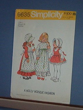 Simplicity Sewing  Pattern 6635 Sweet Holly Hobbie Fashion Size One (Chest 20)