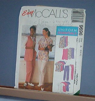 Sewing Pattern McCall's 9696 Scrubs Medical Uniforms 6 8 10 Nice & Easy