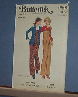 Butterick Sewing Pattern Butterick 6801 Jumpsuit Overall & Jacket Size 7-13 Jr. Petite
