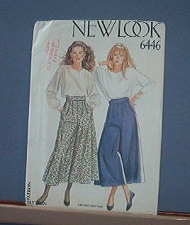 Sewing Pattern New Look 6446 Culottes Skort Size 8 - 18