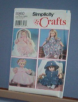 Sewing Pattern, Simplicity 8960 Various Sizes Design Your Own to Fit Your Doll