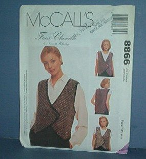 McCall's Sewing Pattern 9242 One button Vest, Faux Chanille Size 8 - 22