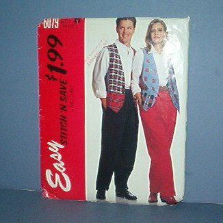 McCall's Sewing Pattern 9079 McCall's Pattern vest and pants Men's and women's, Medium Thru Xtra-Lge