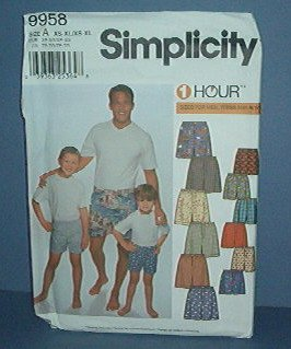 Sewing Pattern Simplicity 9958 Men's and Boy Shirt and Shorts Sizes 2 - 4 Cute