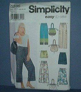 Sewing Pattern Simplicity 5596 Shorts, Skirt, Pants and Purse, Size 6 - 12