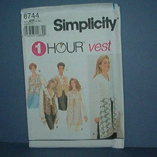 Sewing Pattern Simplicity 8744 l Hour Vests, 4 styles, Sizes 18 - 24