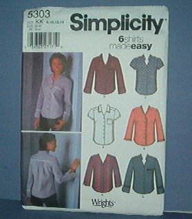 Sewing Pattern Simplicity 5303 Blouses , six styles made easy, Size 8 - 14