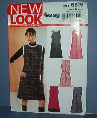 Sewing Pattern Simplicity New Look 6315 Five Styles of Dress, cute, Size 6 - 16
