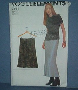 Sewing Pattern:  Vogue Elements 9541 Skirt, long and short.  Sized 6 - 22
