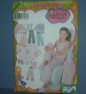 Simplicity Sewing  Pattern 5358 Girl's Pajamas including slippers, Lizzie McGuire, Size 8 - 16