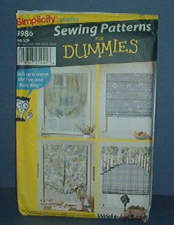 Sewing Pattern Simplicity 9986 Window treatments Shades One Size