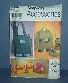 Sewing Pattern Simplicity 5320 Bags 16X15. Ditty Bag, Bottle Bag, coin purse