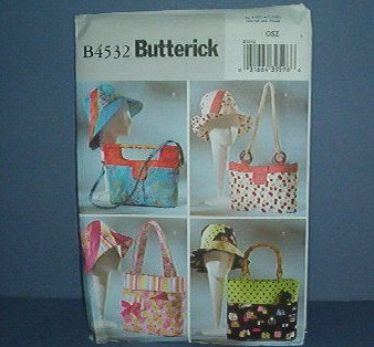 """Sewing Pattern Butterick Hats and Bags (23"""") with various handles. Very Cute"""